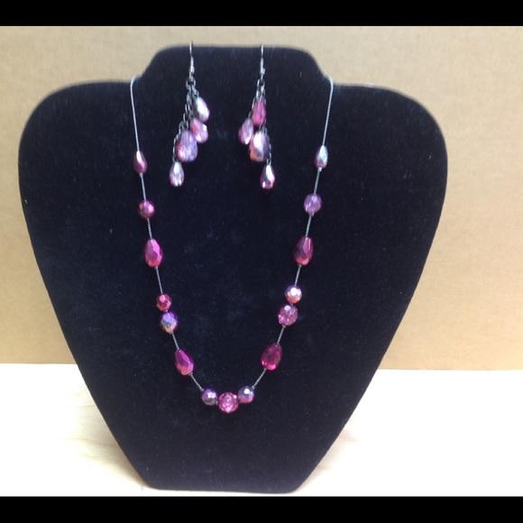 Fuschia Necklace & Earring set